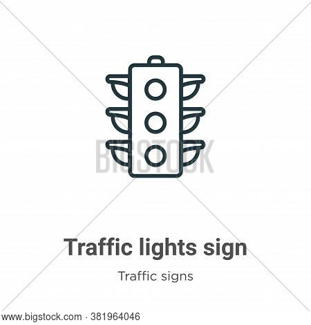 Traffic lights sign icon isolated on white background from traffic signs collection. Traffic lights