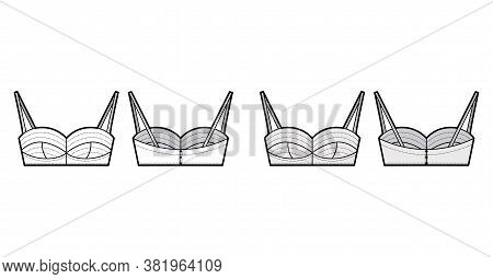 Bustier Top Technical Fashion Illustration With Cropped Length, Cups And A Cutaway Front. Flat Bra S