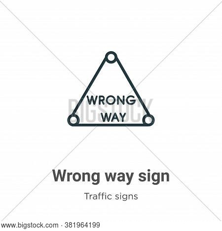 Wrong way sign icon isolated on white background from traffic signs collection. Wrong way sign icon