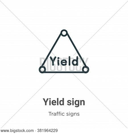 Yield sign icon isolated on white background from traffic signs collection. Yield sign icon trendy a