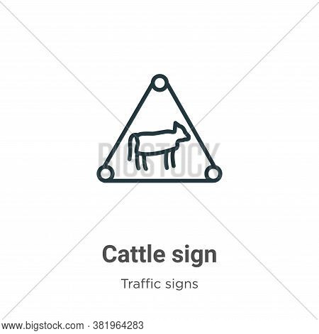 Cattle sign icon isolated on white background from traffic sign collection. Cattle sign icon trendy