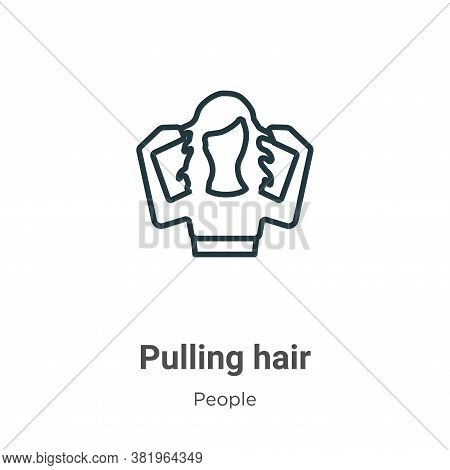 Pulling hair icon isolated on white background from people collection. Pulling hair icon trendy and