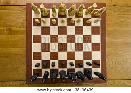 Beautiful ivory wooden chess board with all pieces