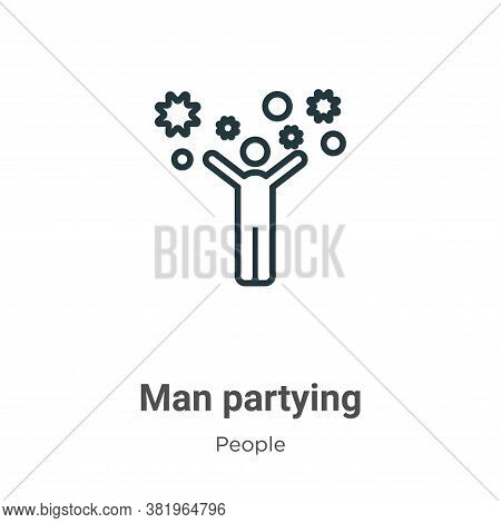 Man partying icon isolated on white background from people collection. Man partying icon trendy and