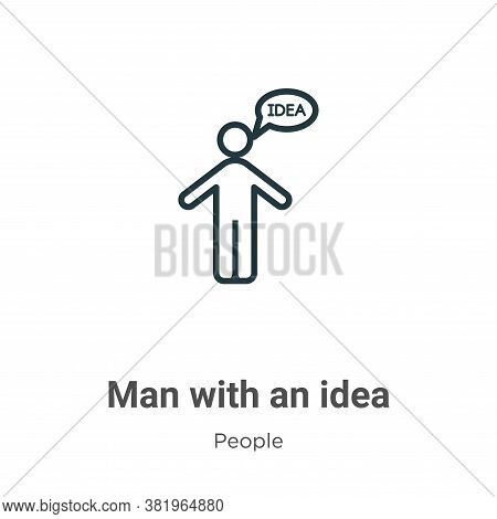 Man with an idea icon isolated on white background from people collection. Man with an idea icon tre