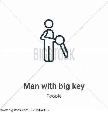 Man with big key icon isolated on white background from people collection. Man with big key icon tre
