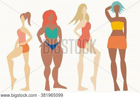 Group Of Women With Different Shapes Embracing Their Bodies