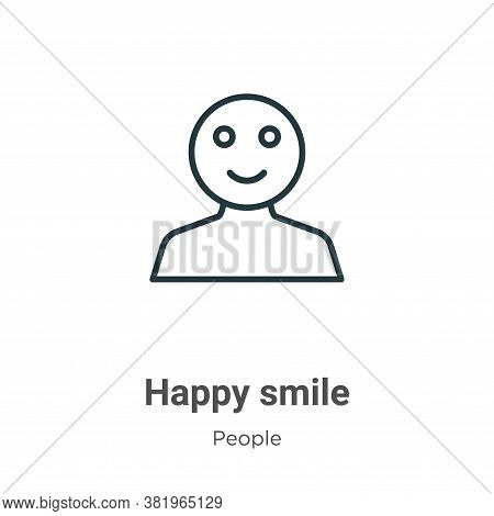 Happy smile icon isolated on white background from people collection. Happy smile icon trendy and mo