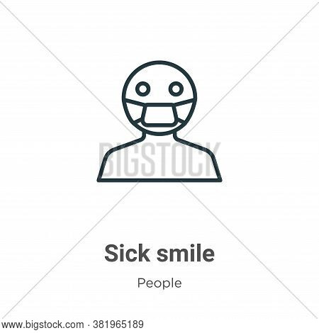 Sick smile icon isolated on white background from people collection. Sick smile icon trendy and mode
