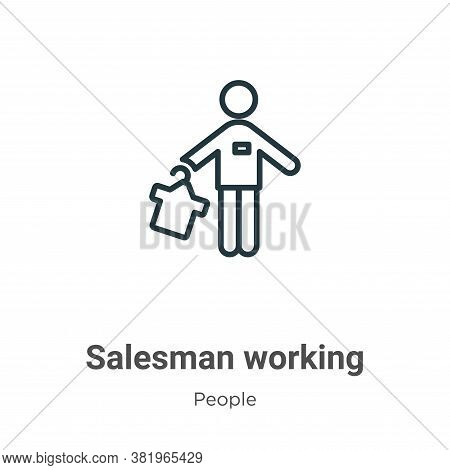 Salesman working icon isolated on white background from people collection. Salesman working icon tre