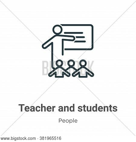 Teacher and students icon isolated on white background from people collection. Teacher and students