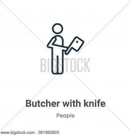 Butcher with knife icon isolated on white background from people collection. Butcher with knife icon