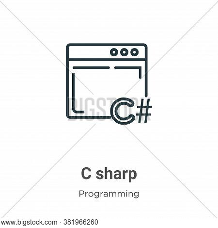 C sharp icon isolated on white background from programming collection. C sharp icon trendy and moder