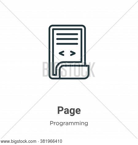Page icon isolated on white background from programming collection. Page icon trendy and modern Page