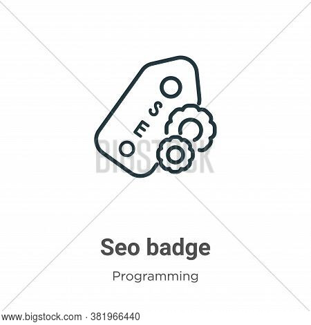 Seo badge icon isolated on white background from programming collection. Seo badge icon trendy and m