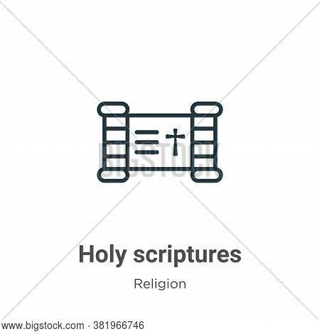 Holy scriptures icon isolated on white background from religion collection. Holy scriptures icon tre