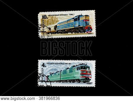 Ussr - Circa 1987: Set Of Stamps Printed In Ussr Showing Different Types Of Steam Locomotives Of 19t