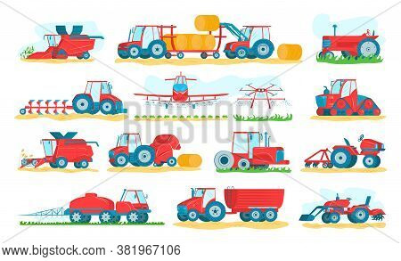 Agricultural Machinery Set Of Isolated On White Vector Illustrations. Agriculture Vehicles And Farm