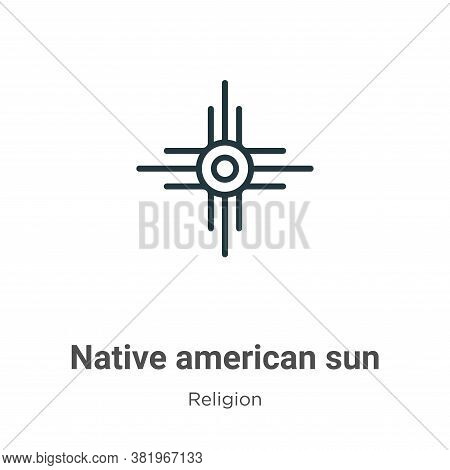Native american sun icon isolated on white background from religion collection. Native american sun
