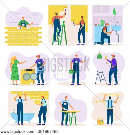 Home Renovation Of Interior Or Construction Improvement With Workers Set Of Vector Illustration. Cra