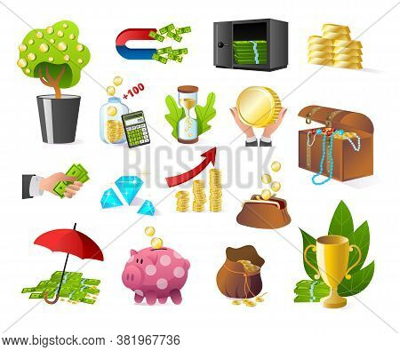 Money Banking And Finance Icons Set Of Isolated On White Vector Illustrations. Bank, Cash, Gold Bull
