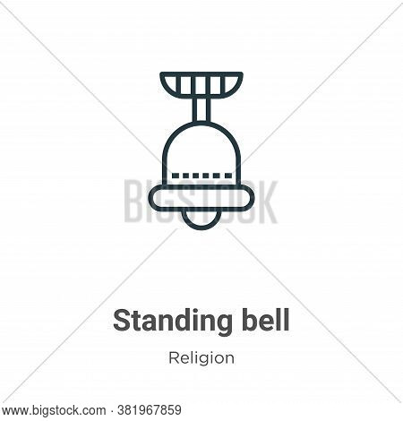 Standing bell icon isolated on white background from religion collection. Standing bell icon trendy