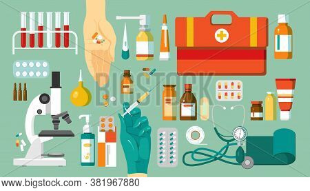 Pharmacy And Medications, Drugs Set Of Icons, Isolated Vector Illustrations. Medical Objects, Medici