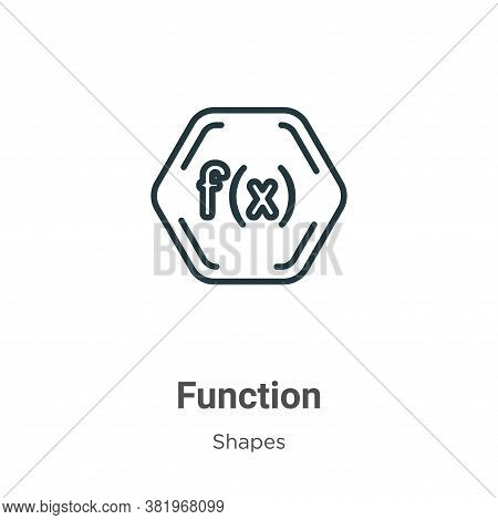 Function symbol icon isolated on white background from shapes collection. Function symbol icon trend