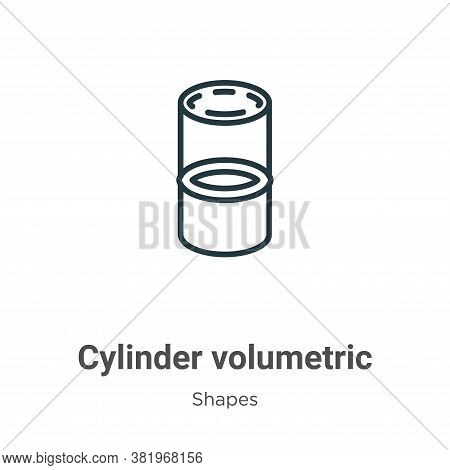 Cylinder volumetric icon isolated on white background from shapes collection. Cylinder volumetric ic