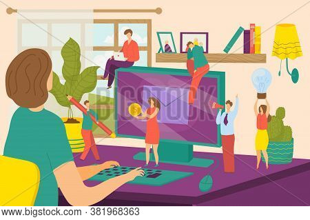 Creative Office People Character Work At Computer Concept, Vector Illustration. Business Abstract An
