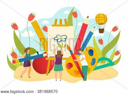 Creative Cartoon Children Drawing Art, Vector Illustration. Girl Boy People Kid Character With Paper
