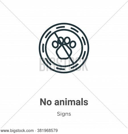 No animals icon isolated on white background from signs collection. No animals icon trendy and moder