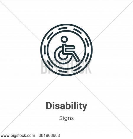 Disability icon isolated on white background from signs collection. Disability icon trendy and moder