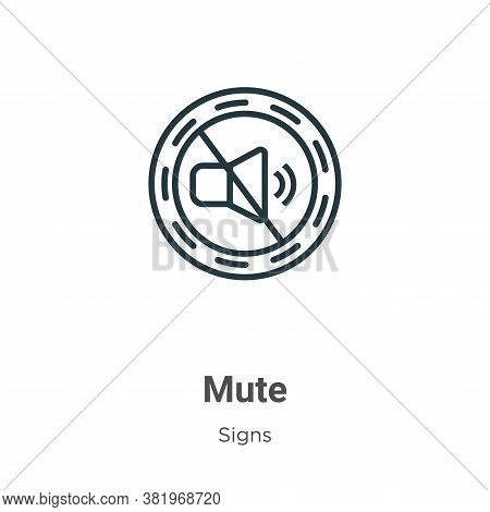 Mute icon isolated on white background from signs collection. Mute icon trendy and modern Mute symbo