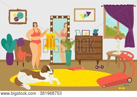 Overweight Woman, Fat Weight Female Body Person Character Concept Vector Illustration. Fat Girl In M