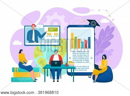 Internet University, Student Study At Distance Education Concept Vector Illustration. Online Knowled