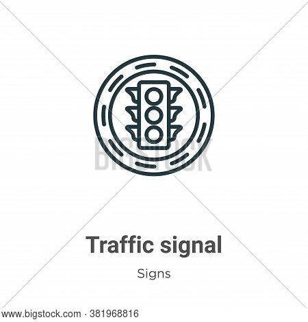 Traffic signal icon isolated on white background from signs collection. Traffic signal icon trendy a