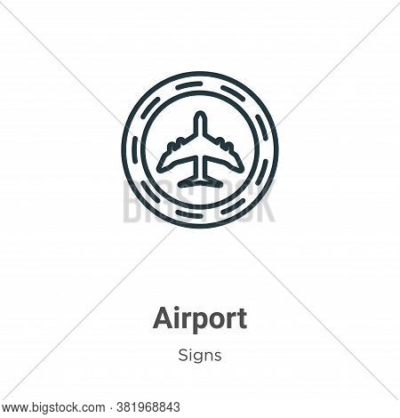 Airport icon isolated on white background from signs collection. Airport icon trendy and modern Airp
