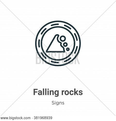 Falling rocks icon isolated on white background from signs collection. Falling rocks icon trendy and