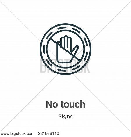 No touch icon isolated on white background from signs collection. No touch icon trendy and modern No