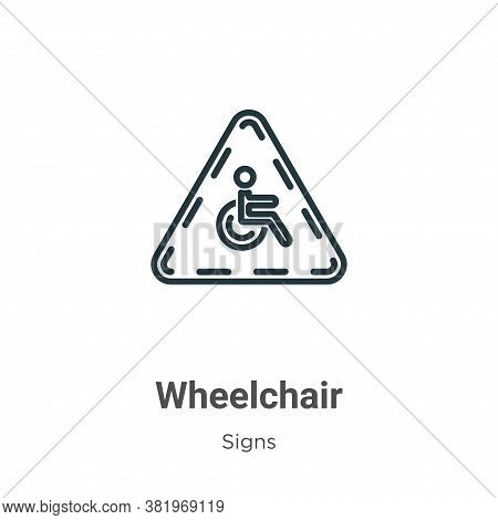 Wheelchair icon isolated on white background from signs collection. Wheelchair icon trendy and moder