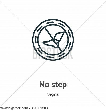 No step icon isolated on white background from signs collection. No step icon trendy and modern No s