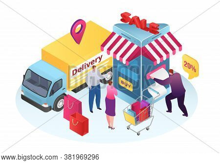 Isometric Sale In Shop Store Service, Business Mobile Delivery Vector Illustration. Phone Online Cus