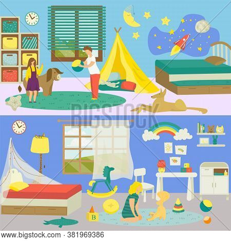 Kids Cartoon Room Interior With Animal Pet Vector Illustration. Cute Boy Girl Person At Domestic Bac