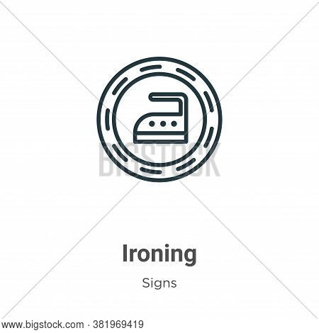 Ironing icon isolated on white background from signs collection. Ironing icon trendy and modern Iron
