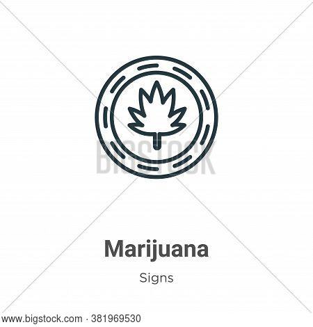 Marijuana icon isolated on white background from signs collection. Marijuana icon trendy and modern