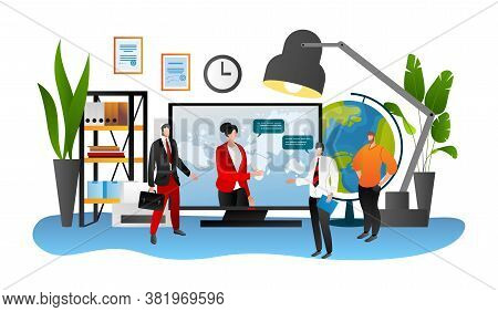 Laptop Meeting With Investor Flat People Concept, Vector Illustration. Businessman Talk With Busines