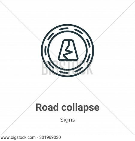 Road Collapse Icon From Signs Collection Isolated On White Background.