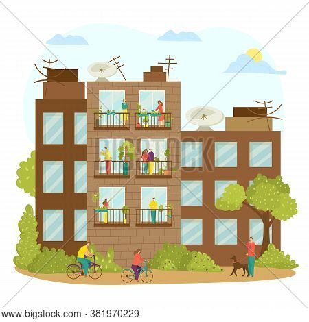 House Balcony With Woman Man Character Outside, Building Window At City Vector Illustrartion. People