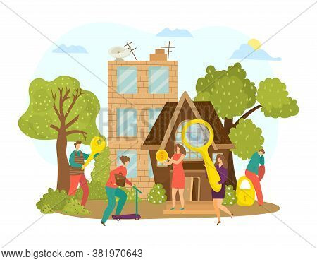 Buy Real Estate, Search Home Apartment Property Design Vector Illustration. House Purchase For Peopl